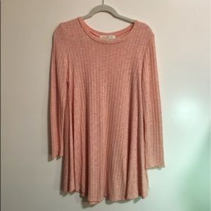 Long sleeve pink tunic dress